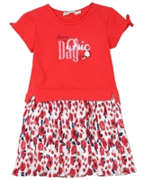 Losan Girls Chiffon and Jersey Dress in Poppy Print