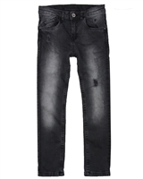 Losan Junior Boys Black Denim Pants in Distressed Look