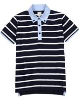 Losan Junior Boys Striped Polo with Chambray Collar