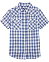 Losan Junior Boys Short Sleeve Linen Plaid Shirt