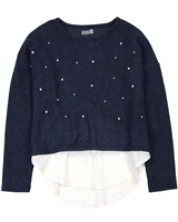 Losan Junior Girls Knit Top with Faux Shirt