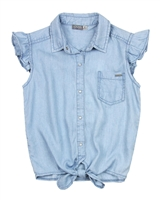 Losan Junior Girls Chambray Blouse with Knot