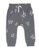 Miles Baby Boys Jersey Pants in Bicycles Print