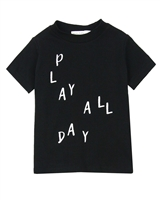 Miles Baby Boys T-shirt with Play Print in Black