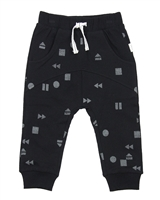 Miles Baby Boys Black Printed Jogging Pants