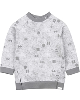 Miles Baby Boys Grey Sweatshirt in Geometrical Print