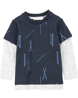 Miles Baby Boys Ski Print Layered T-shirt