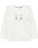 Miles Baby Girls Terry Top with Shoulder Ruffles