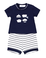 Mayoral Infant Boy's T-shirt with Applique and Striped Shorts Set