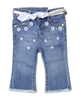 Mayoral Baby Girl's Embroidered Denim Pants with Belt