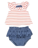 Mayoral Infant Girl's Striped Top and Chambray Bloomers Set
