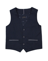Mayoral Boy's Tailored Linen Vest in Navy