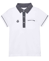 Mayoral Boy's Polo with Contrast Patterned Collar