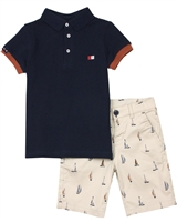 Mayoral Boy's Polo and Short in Yacht Print Set