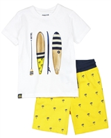 Mayoral Boy's T-shirt and Printed Terry Shorts Set