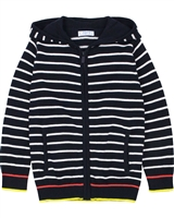 Mayoral Boy's Striped Hooded Knit Cardigan