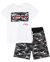 Mayoral Boy's T-shirt and Camo Print Terry Shorts Set