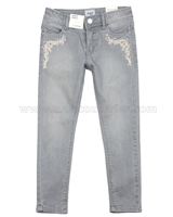 Mayoral Girl's Skinny Denim Pants with Embroidery