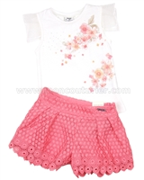 Mayoral Girl's Top and Lace Shorts  Set