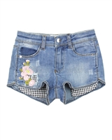 Mayoral Girl's Denim Shorts with Florals