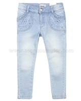Mayoral Girl's Denim Pants with Eyelet