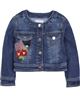 Mayoral Girl's Denim Jacket with Florals Dark Blue
