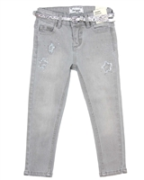 Mayoral Girl's Gray Denim Pants with Belt