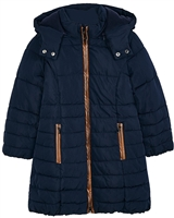 Mayoral Girl's Quilted Coat with Hood in Navy
