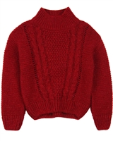 Mayoral Girl's Cable Knit Pullover in Carmine