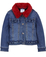 Mayoral Girl's Jean Jacket with Faux Fur Collar