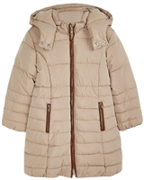 Mayoral Girl's Quilted Coat with Hood in Beige