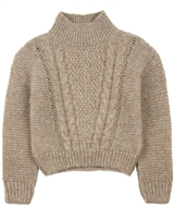Mayoral Girl's Cable Knit Pullover in Taupe