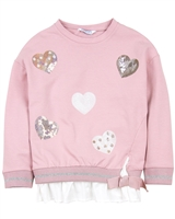 Mayoral Girl's Sweatshirt in a Layered Look with Hearts
