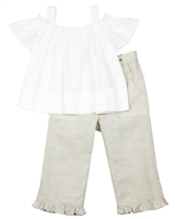 Mayoral Girl's Linen Blouse and Pants Set