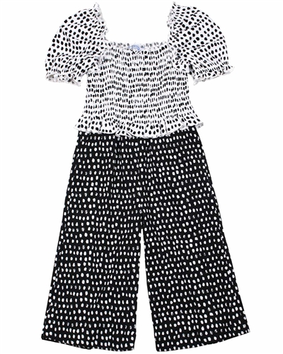 Mayoral Girl's Two-in-one Look Polka Dot Jumpsuit