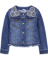 Mayoral Girl's Denim Jacket with Applique in Medium Blue