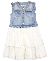 Mayoral Girl's Chiffon Eyelet and Denim Dress
