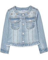 Mayoral Girl's Denim Jacket with Applique in Bleach Blue
