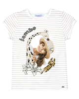 Mayoral Girl's Striped T-shirt with Girl Print