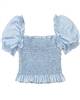 Mayoral Girl's Chambray Smocked Top