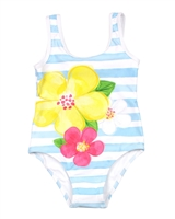 Mayoral Girl's One-piece Swimsuit in Stripes and Flower Print