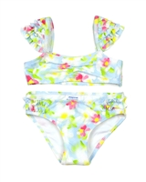 Mayoral Girl's Bikini in Floral Print with Ruffled Shoulders