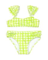Mayoral Girl's Bikini in Check Print with Ruffled Shoulders