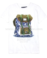 Mayoral Boy's T-shirt with Printed Backpack White