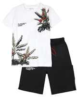 Mayoral Junior Boys' T-shirt with Tropical Print and Shorts Set