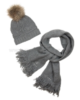 Mayoral Junior Girl's Hat with Furry Pompom and Scarf