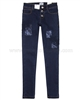 Mayoral Junior Girl's Skinny Denim Pants with Applique Dark Blue