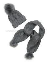 Mayoral Junior Girl's Cable Knit Hat and Scarf with Pompoms Gray