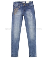 Mayoral Girl's Denim Pants with Metal Studs Applique