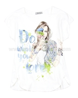 Mayoral Girl's T-shirt with Girls Print White